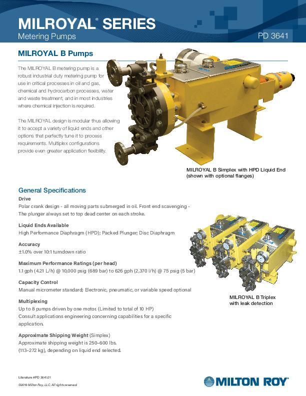 Milroyal B Pumps Datasheet