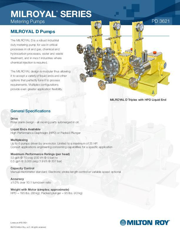 Milroyal D Pumps Datasheet